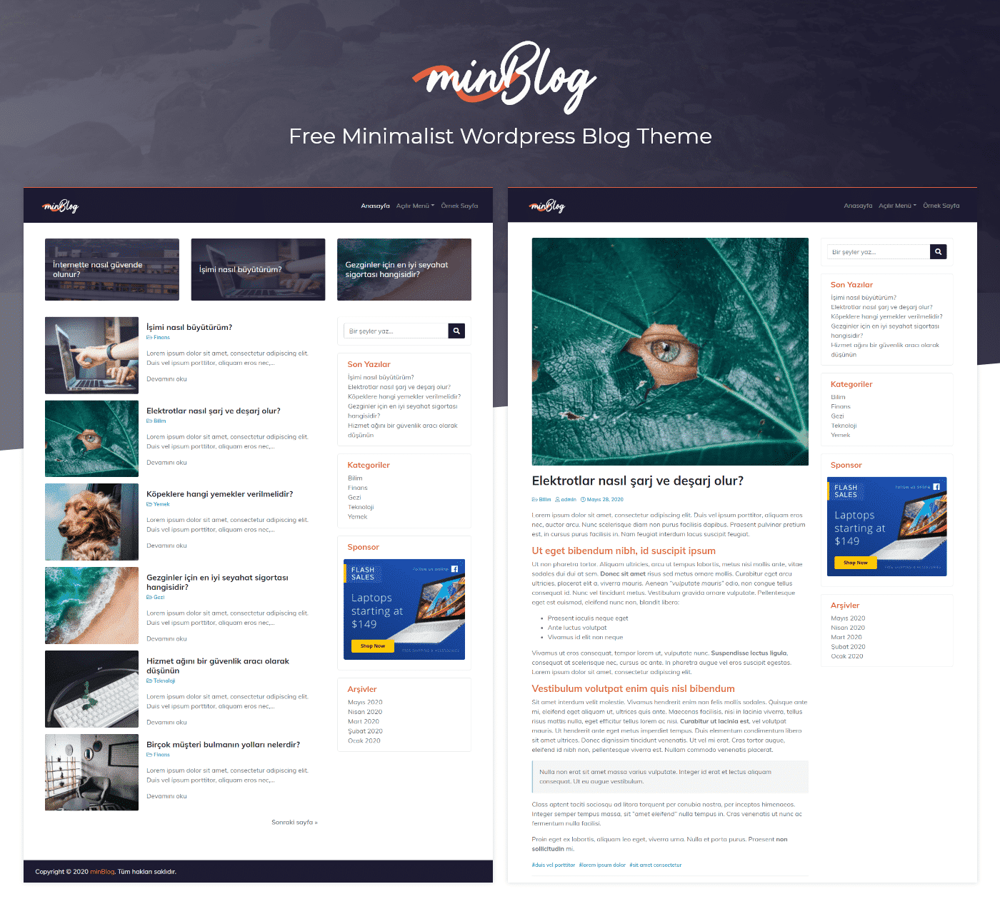 minBlog – Free Minimalist WordPress Blog Theme