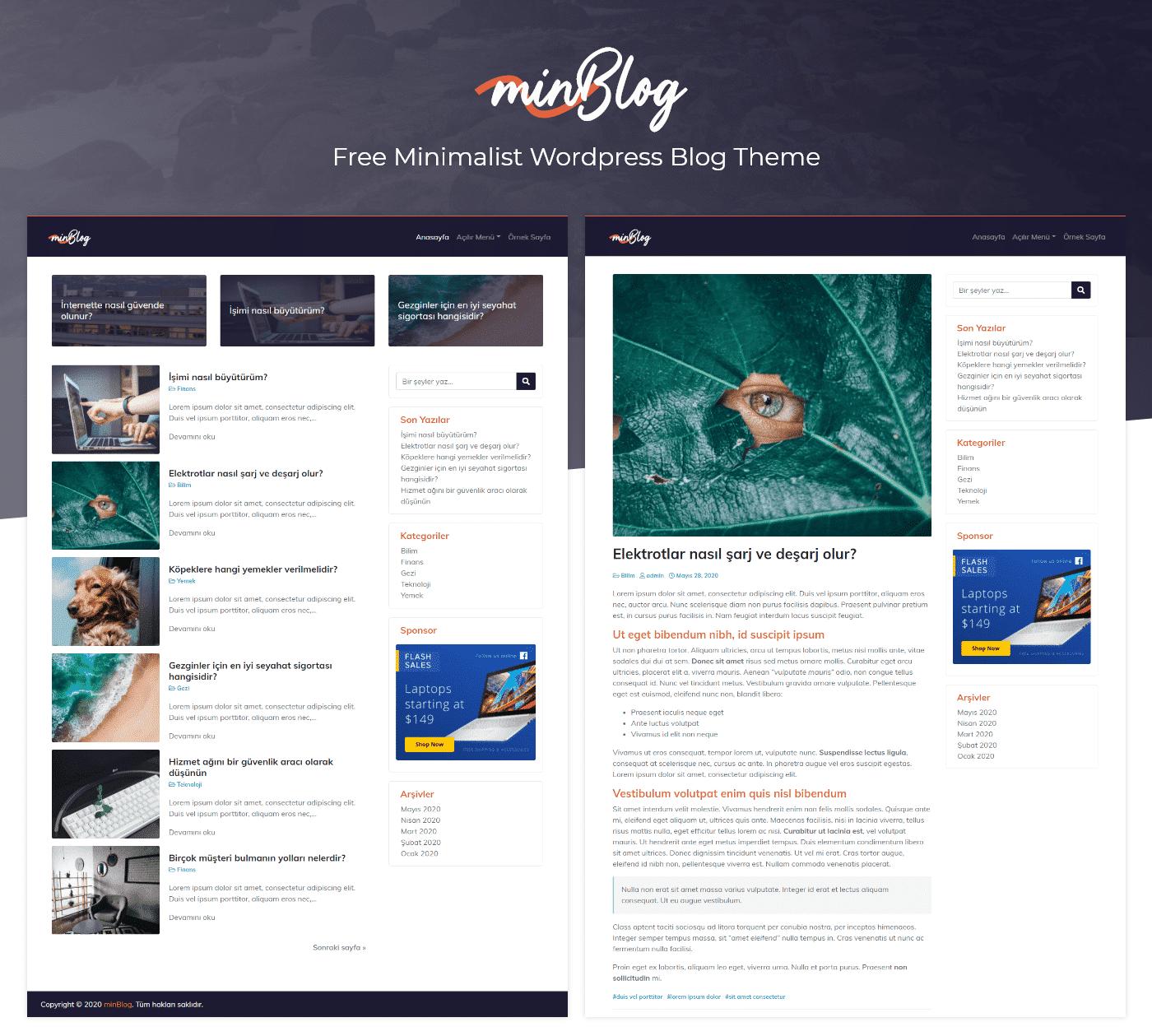 minBlog – Free Minimalist WordPress Blog Theme